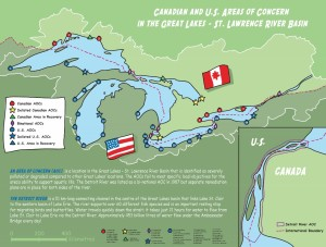 Areas of Concern recognized by the Great Lakes Water Quality Agreement